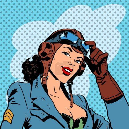 Illustration for Pin up girl pilot aviation army beauty pop art retro comic vintage - Royalty Free Image