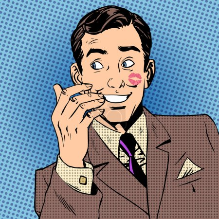 Illustration for Playboy man with a kiss on the face with red lipstick Halftone style art pop retro vintage - Royalty Free Image