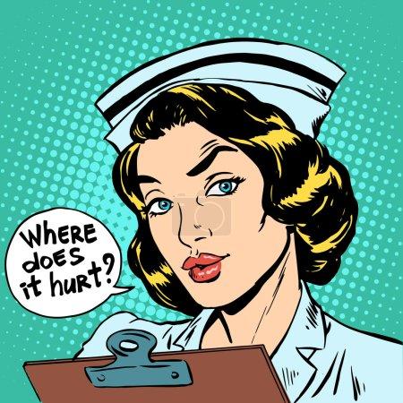 Illustration pour Où est-ce que ça fait mal question infirmière. Médecine hospitalière - image libre de droit