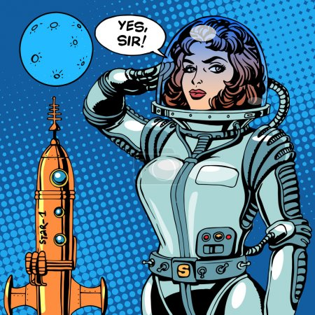 Illustration for Woman astronaut captain of a spaceship science fiction. Retro style pop art - Royalty Free Image