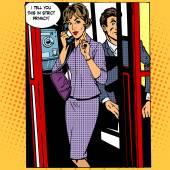 Privacy surveillance phone conversation woman