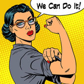 Woman with glasses we can do it the power of feminism Retro style pop art