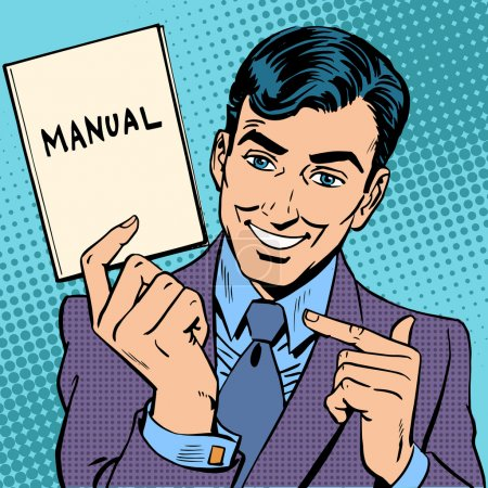 Illustration for The man is a businessman with a manual in hand. Retro style pop art - Royalty Free Image