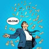 business concept success businessman flying money
