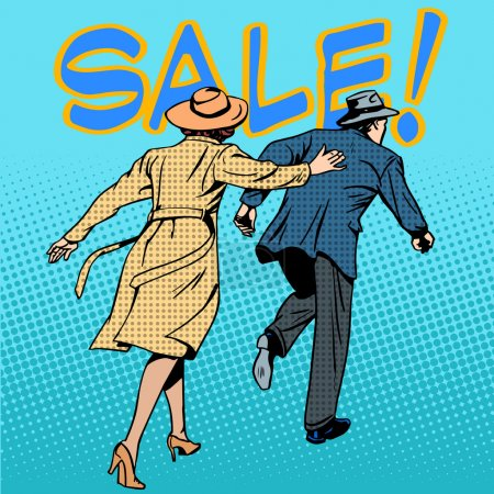 family running sale retro style pop art