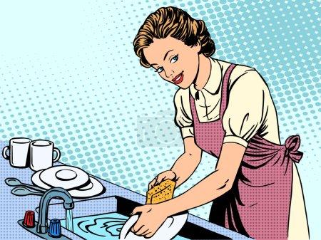 Illustration pour Femme lave-vaisselle ménagère confort travail ménager style rétro pop art - image libre de droit