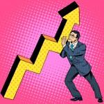 Businessman raises growth graph. Business concept ...