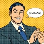 Man applause Bravo concept of success retro style ...