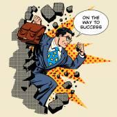 Business breakthrough success businessman hero breaks through th