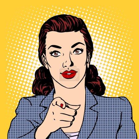 Illustration pour La femme d'affaires veut le concept d'entreprise. Pop art de style rétro - image libre de droit