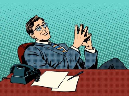 Illustration pour L'homme d'affaires ironique patron. Concept d'entreprise professionnel au travail style rétro pop art - image libre de droit