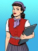 Businesswoman seller consultant hostess
