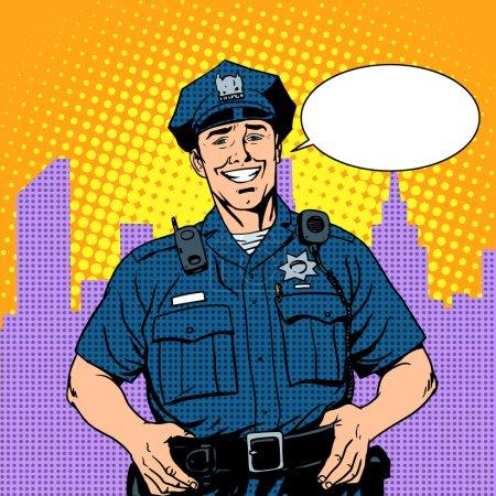 Illustration pour Bon flic police pop art style rétro - image libre de droit