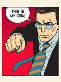 Fight fist kick my idea creative process pop art retro style Patent wars authorship copyright