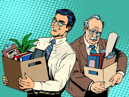 Retired business concept job search and dismissal