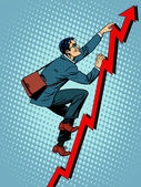 Businessman climber is climbing up according to the schedule of sales pop art retro style