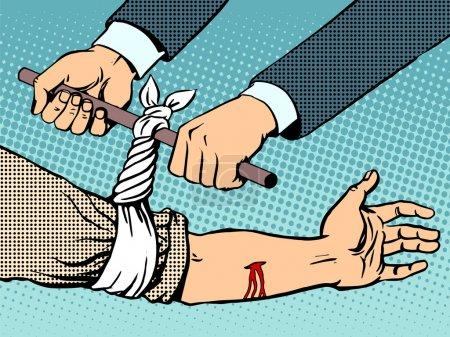 Illustration for Bandage to stop the bleeding after being wounded pop art retro style. Manual rescue hand blood - Royalty Free Image