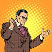 Boss welcome business concept pop art retro style Welcome a grown man welcomes visitors Experienced businessman