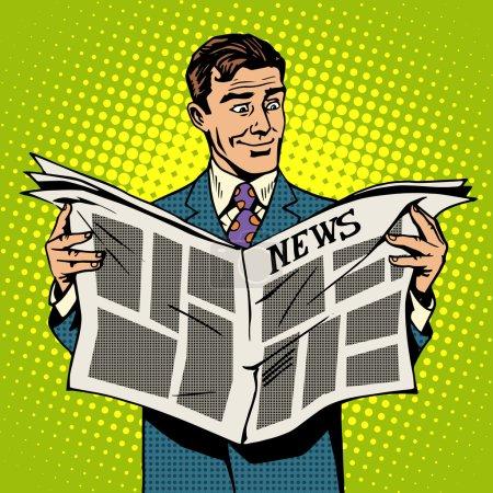 Man businessman reading news newspaper