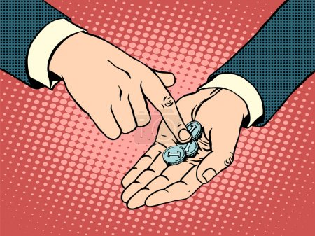 Illustration for The little coins in his hand pop art retro style. Business concept financial collapse and poverty - Royalty Free Image