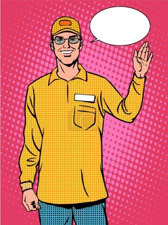 Illustration pour Vendeur Wellcome uniforme sourire pop art style rétro - image libre de droit