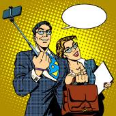 Selfie stick businessman and businesswoman photo smartphone