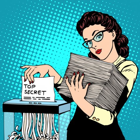 Illustration for Paper shredder top secret document destroys the Secretary pop art retro style. The policy of the government security services document storage security data. Businesswoman politician - Royalty Free Image