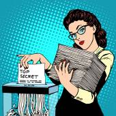 Paper shredder top secret document destroys the Secretary pop art retro style The policy of the government security services document storage security data Businesswoman politician