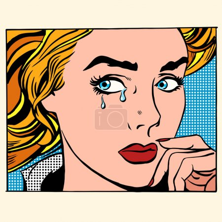 Illustration for Girl crying woman face. Pop art retro style. Caucasian people coarsely face image. Human emotions - Royalty Free Image