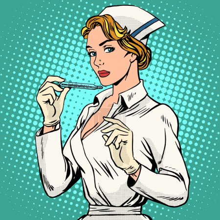 Illustration for High temperature disease nurse thermometer pop art retro style. Medicine and health. Ambulance. Fever flu fever - Royalty Free Image