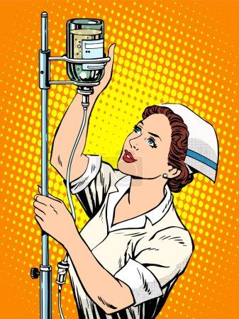Illustration for Nurse medicine dropper pop art retro style - Royalty Free Image