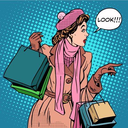 Illustration pour Femme achats acheter des rabais look pop art style rétro. Vente de vacances magasins et centres commerciaux. Fille Shopaholic. L'intérêt pour les nouveaux produits - image libre de droit