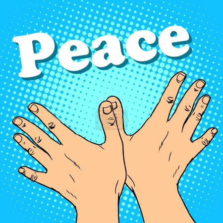 Illustration for Hand gesture dove of peace pop art retro style. A symbol of friendship and human solidarity. The anti-war movement - Royalty Free Image