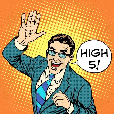 High five joyful businessman