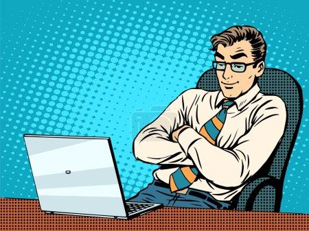 Good businessman at laptop