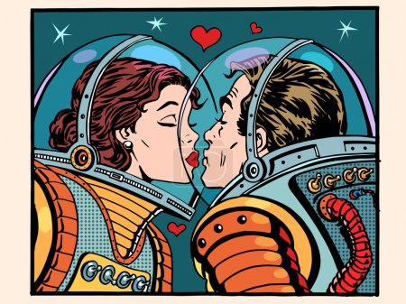 Illustration for Kiss space man and woman astronauts pop art retro style. Valentines day, wedding and love. A girl and a boy. Science and the cosmos - Royalty Free Image