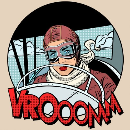 Retro Aviator woman on the plane