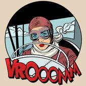 Retro Aviator nő a gépen