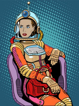 Illustration for Space girl beauty sexy science fiction pop art retro style. A woman sits in a chair. International womens day. Female power - Royalty Free Image