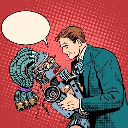 man girl robot. Love and computer technology