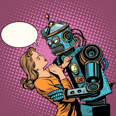 Illustration for Robot woman love computer technology pop art retro style. Loving couple man and woman. Computer technology and the danger of technical progress. Machine and people - Royalty Free Image