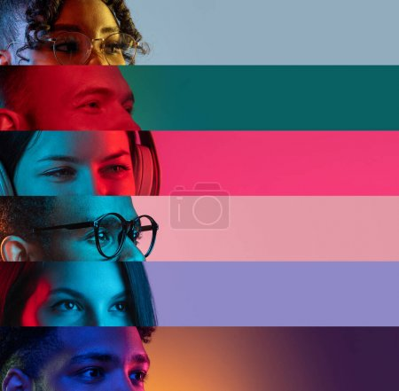 Photo for Narrow stripes. Collage of cropped male and female faces, eyes isolated over multicolored backgrounds. Close-up. Concept of human emotions, facial expressions. Copy space for ad - Royalty Free Image