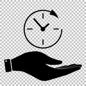 Service and support for customers around the clock and 24 hours Save or protect symbol by hand
