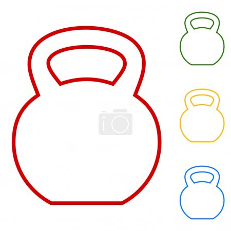 Fitness Dumbbell sign. Set of line icons. Red, gre...
