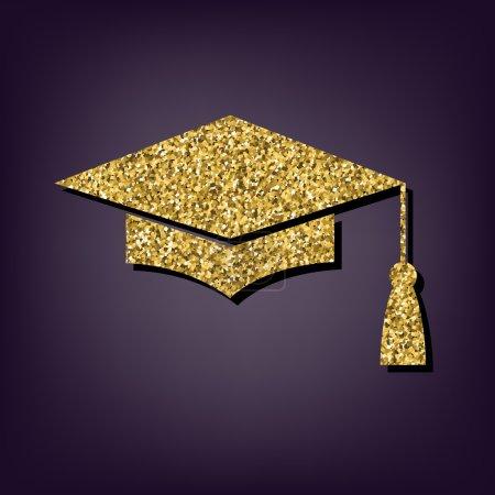 Illustration for Mortar Board or Graduation Cap, Education symbol illustration. Golden icon - Royalty Free Image
