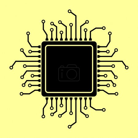 Illustration for CPU Microprocesso. Flat style icon vector illustration - Royalty Free Image