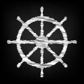 Ship wheel Vector illustration with chalk effect