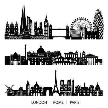 City set of London, Paris, Rome