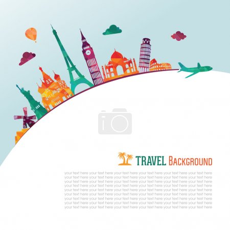 Illustration for Travel and tourism background - Royalty Free Image