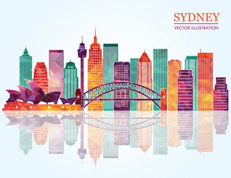Sydney City skyline detailed silhouette.